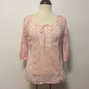 Old Navy Pink & White Floral Peasant Blouse